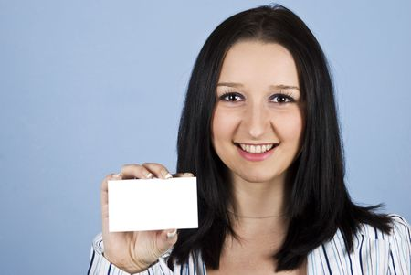 Portrait of young business lady holding a business blank card Stock Photo - 6207211