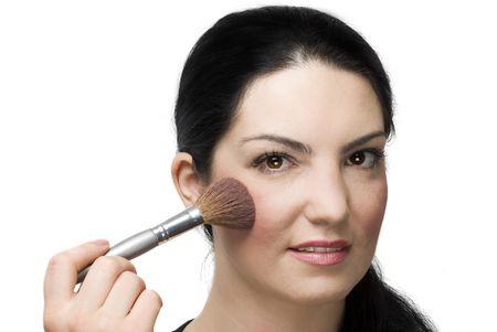 blushing: Portrait of beautiful woman face blushing isolated on white background Stock Photo