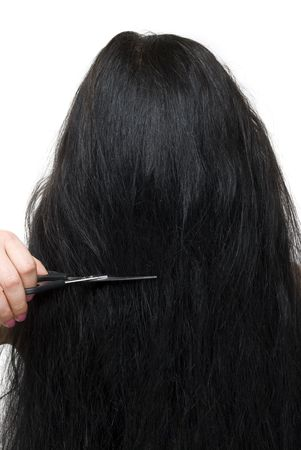 back straight: Close up of back of brunette woman  long hair and scissors at saloon isolated on white background