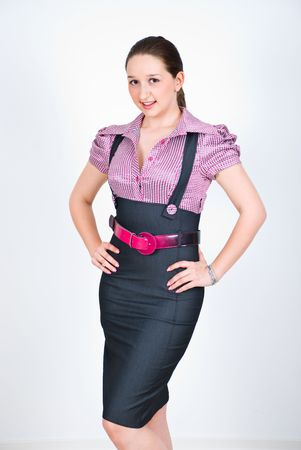 Elegant fashion young business woman posing Stock Photo - 6960510