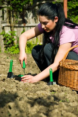 Young woman working in garden and using tools  at countryside photo