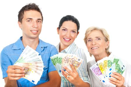 money euro: Happy winners people standing in a row and holding money  isolated on white background Stock Photo