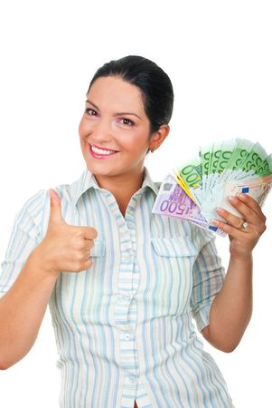 Successful young businessman holding a lot of money and giving thumbs up isolated on white background