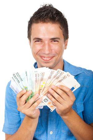 mucho dinero: Riendo hombre extremadamente feliz gan� un mont�n de dinero euro aislado sobre fondo blanco