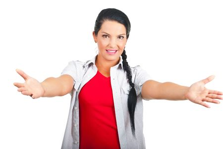 open arms: Casual woman with arms open