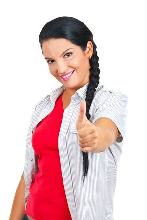 Cheerful casual woman giving thumbs up isolated on white background photo