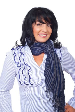 Attractive executive woman with hairstyle posing in elegant shirt and scarf and smiling over white background photo