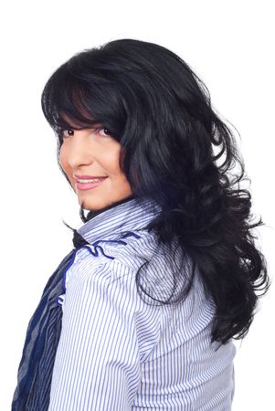 bangs: Smiling  business woman with hairstyle with bangs and curly hair standing in profile and looking over shoulder  isolated on white background Stock Photo