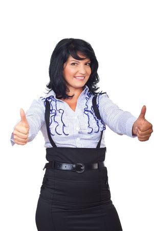 Beautiful modern business woman giving thumbs up with both hands and smiling isolated on white background Stock Photo - 7837085