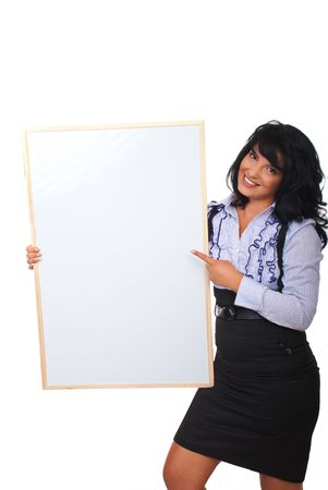 Cheerful business woman pointing to blank placard  isolated on white background photo