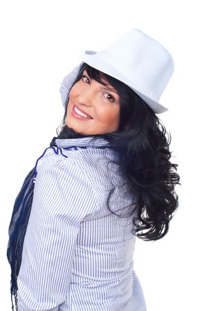 Beautiful business woman with stripes shirt,scarf and white hat looking over shoulder and smiling for you isolated on white background photo