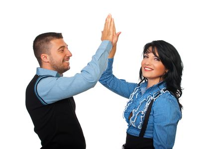 high five: Executive businesspeople  give high five and looks satisfied of their business isolated on white background Stock Photo