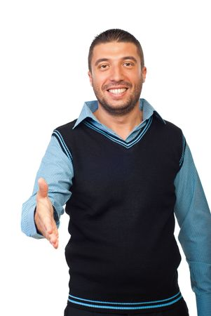 poign�es de main: Portrait du m�le ex�cutif donne une poign�e de mains isol�e sur fond blanc