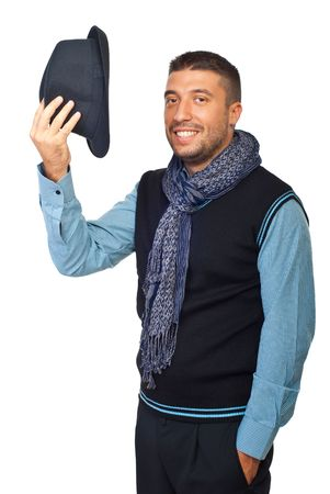 hands off: Hombre moderno te saludan y despegar su sombrero aislado sobre fondo blanco  Foto de archivo