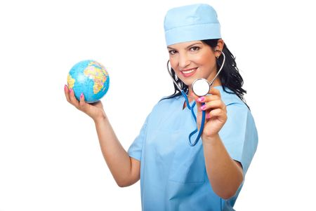 Happy doctor woman holding a  terrestrial  globe and showing stethoscope isolated on white background Stock Photo - 7837233