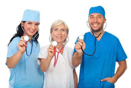 Happy group of diverse doctors smiling and showing their stethoscopes in front of image isolated on white background Stock Photo - 7837270