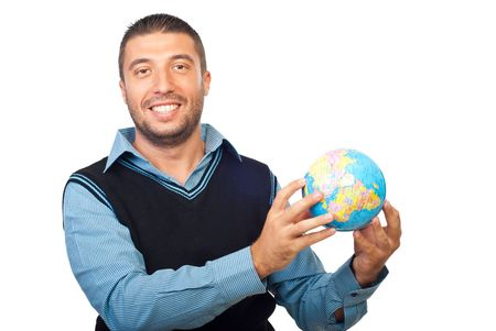 Smiling business man holding a globe isolated on white background photo