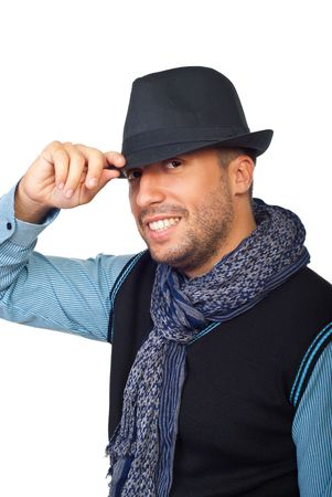 Portrait of smiling modern guy wearing scarf and black hat isolated on white background Stock Photo - 7837512