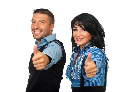 Happy business partners couple giving thumbs up isolated on white background Stock Photo - 7837537