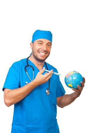 immunize: Happy doctor man immunize earth globe isolated on white background