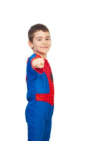 Little boy dressed in spider costume showing fist hand and smiling isolated on white background Stock Photo - 7907831