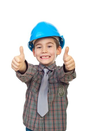 toothless: Excited future architect with toothless giving thumbs up with both hands isolated on white background