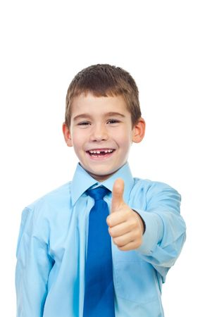 Cheerful elegant boy giving thumb up and laughing isolated on white background Stock Photo - 7907877