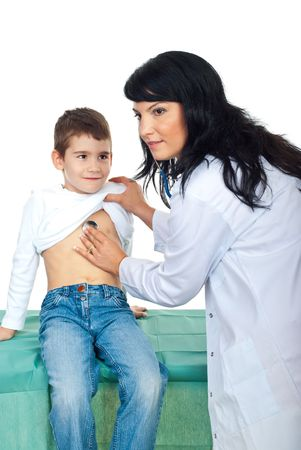 examine: Doctor checkup lovely child and he sitting quiet and looking with admiration to her