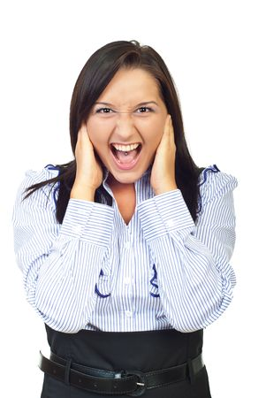 Furious young woman screaming and holding hands on her face isolated on white background photo