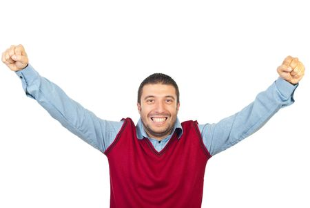 Excited man raising his hands and cheering isolated on white background photo