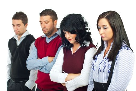 mujer decepcionada: Gente de negocios decepcionado debido a la crisis financiera, mirando hacia abajo y pensamiento aislados sobre fondo blanco