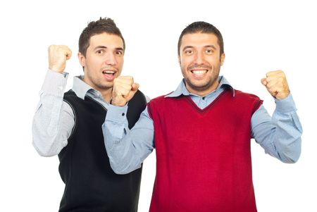 Excited two business men raising hands and cheering isolated on white background photo