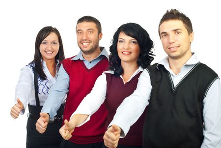 Four business people standing in a row and giving thumbs up isolated on white background photo