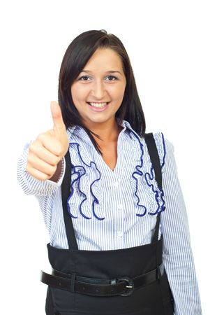 Cheerful young business woman giving thumb up and smile isolated on white background photo