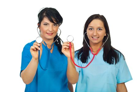 Two smiling doctors women showing stethoscopes isolated on white background Stock Photo - 7985511