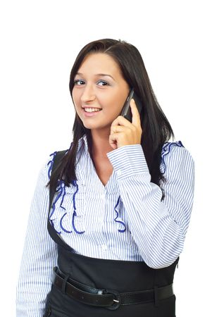 Smiling woman speaking at cell phone isolated on white background photo