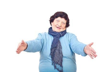 arms open: Elderly woman standing with arms open ready for huugung someone isolated on white background