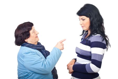 Grandmother arguing her granddaughter isolated on white background Stock Photo - 8042128