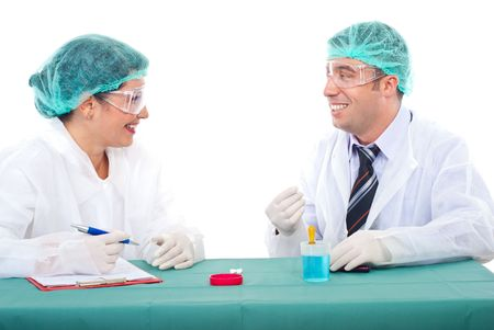 Two laboratory people having conversation and smiling together Stock Photo - 8042185