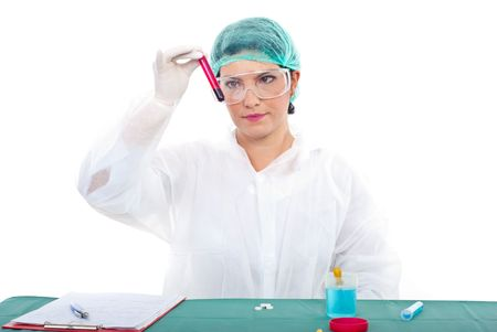 Researcher woman examine blood tube in a laboratory photo