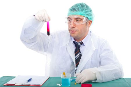 conducting: Scientist man examine blood tube and working in a laboratory