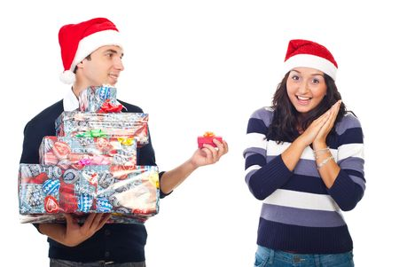 Amazed woman of her boyfriends Christmas gift isolated on white background photo