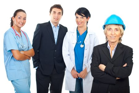 Architect woman in front of  a group of  different workers isolated on white background photo