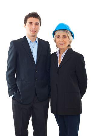Engineer man and architect senior woman isolated on white background photo