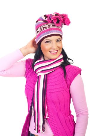 neckcloth: Beautiful smiling woman wearing pink crocheted hat ,pullover and neckcloth isolated on white background