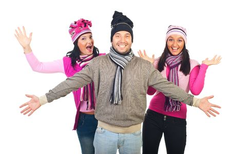 neckcloth: Cheerful group of friends wearing colorful winter knitted clothes and cheering isolated on white background