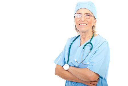 Smiling senior surgeon woman with eyeglasses and stethoscope isolated on white background,copy space for text message in left part of image photo