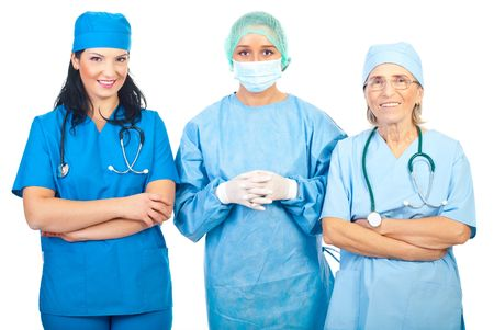 Surgeons women group team standing in a row isolated on white background photo