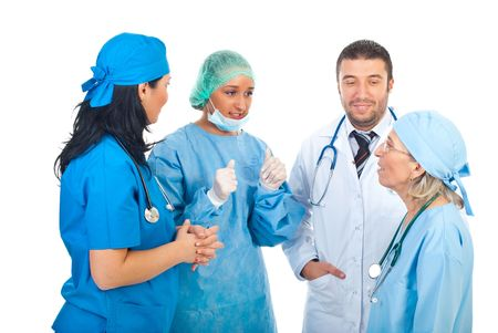 Team of different doctors having conversation isolated on white background Stock Photo - 8156402