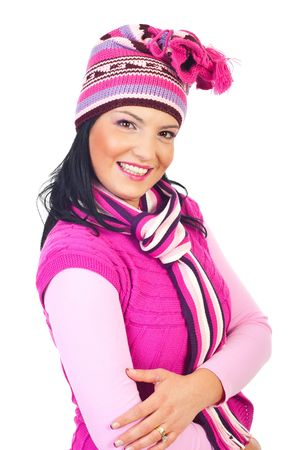 neckcloth: Beautiful model woman with toothy smile in pink knitted clothes isolatedon white background